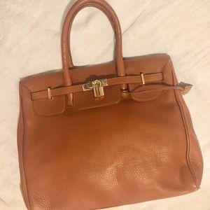Camel leather Birkin inspired bag